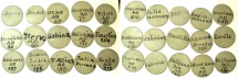 World Coins - ENGLAND.George III, regency period or George IV circa AD 1760-1820-1830.Bone counters  bearing various names of Roman Emperors and and Empresses.