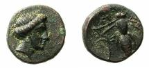 Ancient Coins - TROAS.GENTINOS.4th cent BC.AE.12.5mm.Artemis .~#~. Bee.