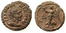 Ancient Coins - EGYPT.ALEXANDRIA.Maximianus Gallerius AD 293-311, as Caesar AD 293-305.Billon Tetradrachm, struck AD295/6.~#~.Nike walking left.