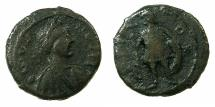 Ancient Coins - BYZANTINE EMPIRE. Justin I AD 518-527.AE. Pentanummium. Mint of CHERSON. ~#~. Emperor standing.