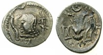 Ancient Coins - ARABIA FELIX.Himyarites.Anonymous 1st cent BC.AR.Denarius.~~~Male head.~#~.Bucranium