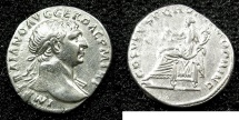 Ancient Coins - ROME.Trajan AD 98-117.AR.Denarius struck circa AD 103-111.Mint of ROME.~#~.Aequitas enthroned.