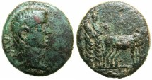 Ancient Coins - MACEDON.Uncertain Philippi?.Tiberius AD 14-37.AE.12.Colonist with oxen