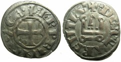 World Coins - CRUSADER STATES.GREECE.Principality of ACHAIA.Charles I or II of Anjou AD 1278-1285-1289.Bi.Denier.Type KA 101.Unpublished var.with PRINCI for PRINCE?