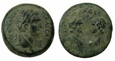 Ancient Coins - CILICIA.FLAVIOPOLIS.Domitian AD 81-96.AE.27.2mm. struck AD 89/90. Reverse.viz-a-viz busts of the Dioscuri.