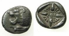 Ancient Coins - IONIA.MILETUS.Circa 500-494 BC.AR.Diobol.