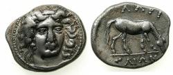 Ancient Coins - THESSALY.LARISSA. Circa 360-365 BC.AR.Drachma. ~#~. Right facing nymph.