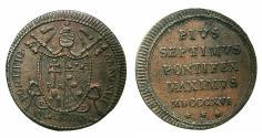 World Coins - VATICAN.Pope Pius VII AD 1800-1823.AE.Quattrino. MDCCCXVI (1816) .ANNO XVII ( 1817 ).