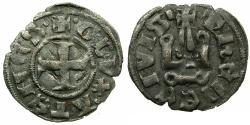 World Coins - CRUSADER.Frankish Greece.Dukes of ATHENS.William I AD 1280-1287 or Guy II AD 1287-1308.Billon Denier.Variety A8.