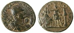 Ancient Coins - PHOENICIA.TYRE.Elagabalus AD 218-222.AE.33mm.Reverse.Astarte. Obverse countermark head of Melquarth.