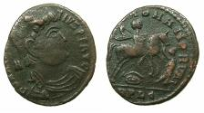 Ancient Coins - ROMAN.Magnentius AD 350-353.AE.Centenionalis.Mint of LUGDUNUM. Equestrian emperor spearing enemy
