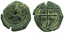 World Coins - CRUSADER STATES.Principality of ANTIOCH.Tancred AD 1104-1112.AE.Follis.4th type.~~~Facing bust of Christ.. ****Ex Slocum coll.****