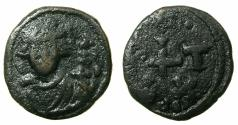 Ancient Coins - BYZANTINE EMPIRE.NORTH AFRICA.Constans II AD 641-668.AE.1/2 Follis.Mint of CARTHAGE.