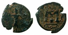 Ancient Coins - ARAB-BYZANTINE.Anonymous.7th cent AD.AE.Fals. Pseudo Damascus mint. Standing figure holding falcon. RARE.