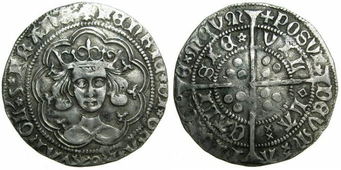 Ancient Coins - ENGLAND.Henry VI 1st reign AD 1422-1461.AR.Groat.Rosette-Mascle issue circa 1427-1430.Mint of CALAIS.