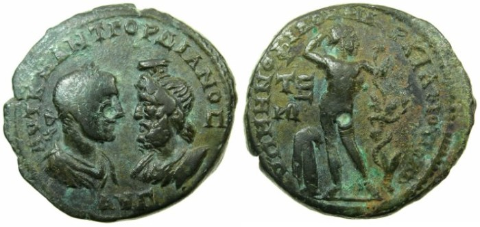 Ancient Coins - MOESIA INFERIOR.MARCIANOPOLIS.Gordian III and Serapis AD 238-244.AE.27mm.~#~.Apollo standing.