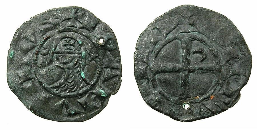 World Coins - CRUSADER STATES.Principality of ANTIOCH. Bohemond III or IV c.1149-1233 Bi.Denier. Class ?