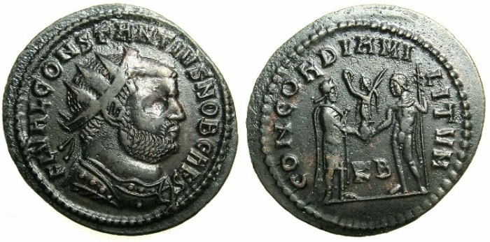 Ancient Coins - ROMAN.Constantius I Chlorus Caesar AD 293-305.AE.Follis.Mint of CYZICUS.~#~Prince and Jupiter.
