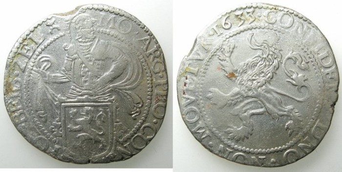 World Coins - NETHERLANDS.ZEELAND.AR.1/2 Lion Daalder 1633.Middleburg privy mark castle.