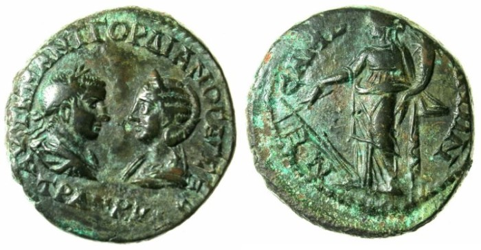 Ancient Coins - THRACE.MESEMBRIA.Gordian III and Tranquillina AD 241-244.AE.25.Tyche.