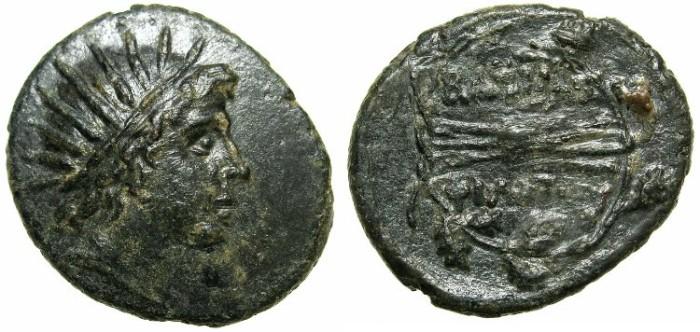 Ancient Coins - MACEDON.Philip V 220-179 BC.AE.27.3mm.Helios radiate.~#~Thunderbolt.