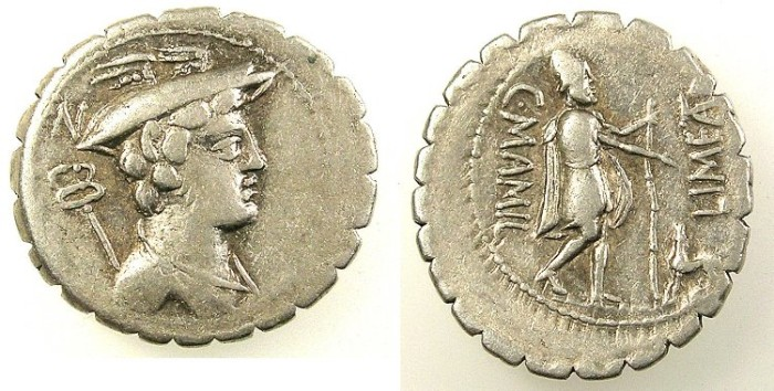 Ancient Coins - ROME.Republic C.Mamilius Limetanus 82BC. AR.Denarius Rev.Ulusses and his dog