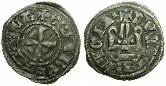 Ancient Coins - CRUSADER.ACHAIA.Isabella of Villehardouin AD 1289-1297.Bi.Denier.Type Y1.