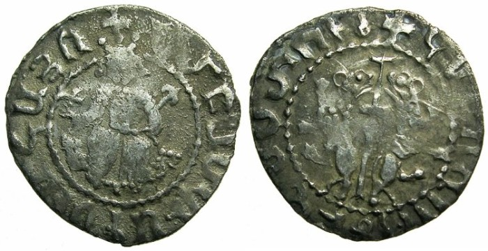 "Ancient Coins - ARMENIA.Smpad AD 1296-1298.AR.Tram"" Coronation issue""."