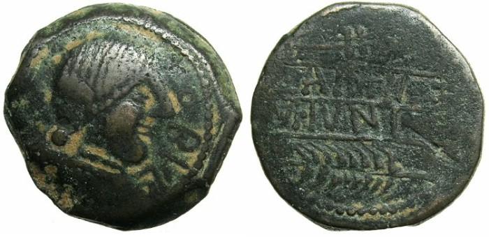 Ancient Coins - SPAIN.OBULCO.Mid 2nd cent BC.AE.28.Female head.Plow and Corn ear.