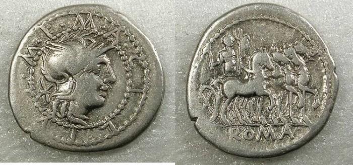 Ancient Coins - ROME Republic M.Acilius M.f. 130BC AR.Denarius