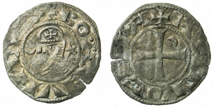 World Coins - CRUSADER.Antioch. Bohemond III or IV c.1149-1233 Bi.Denier Class F