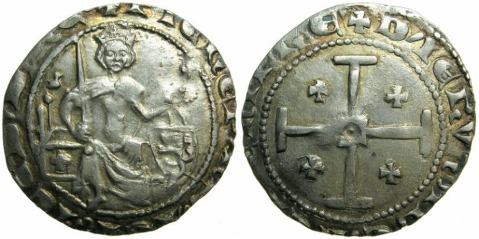 Ancient Coins - CRUSADER STATES.CYPRUS.Peter I AD 1359-1369.AR.Gros Grand.~~~Bird in field left.