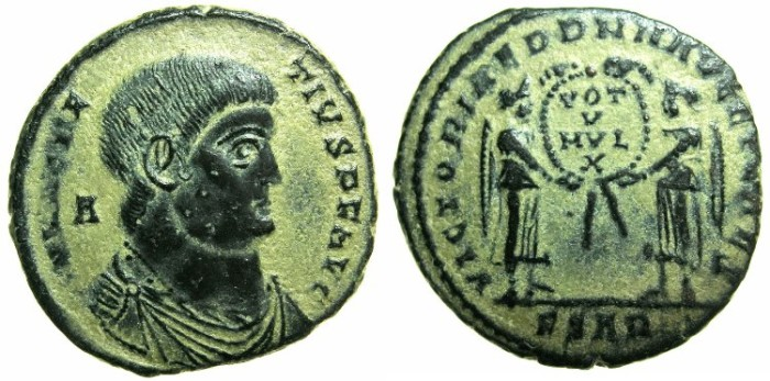 Ancient Coins - ROMAN.Magnentius AD 350-353.AE.Centenionalis.Mint of AQUILEIA.~#~.Two Victories.