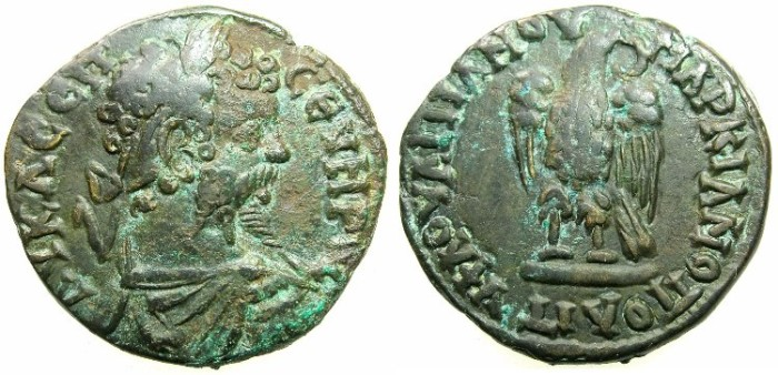 Ancient Coins - THRACE.MOESIA INFERIOR.MARCIANOPOLIS.Septimius Severus AD 193-211.AE.26.2mm.~#~.Eagle standing on base.