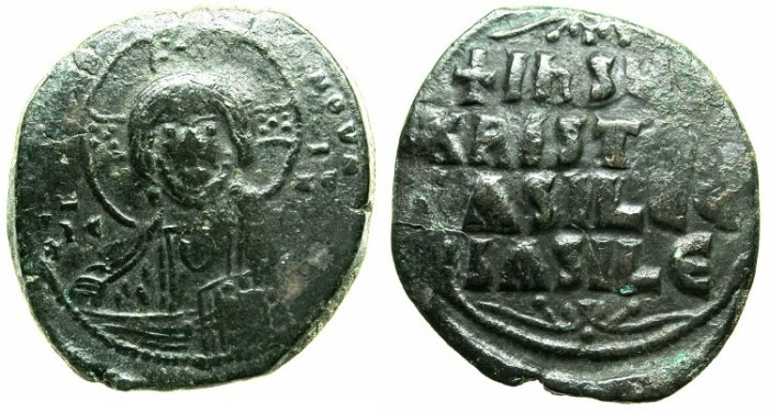 Ancient Coins - BYZANTINE EMPIRE.Anonymous Follis.class A2.Mint of Constantinople.Christ Emmanuel.