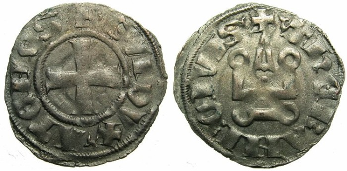 World Coins - CRUSADER STATES.GREECE.Dukes of ATHENS.Guy II of la Roche AD 1287-1308.Type 1C.Trefoil stops.