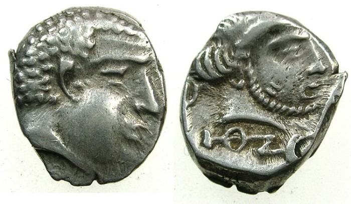 Ancient Coins - SOUTH ARABIA.KATABANIAN. end 1st cent BC to 1st cent BC.AR.Unit.~~~.Beardless male head.~#~.Bearded male head