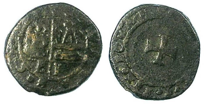 Ancient Coins - CRUSADER.CHIOS under GENOA. The Mahona.Battista Giustiniani Banca AD 1487-1488.AE.Doppio Tornese