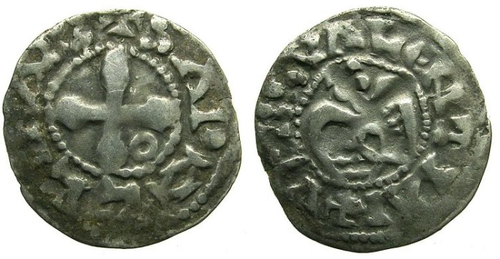 Ancient Coins - CRUSADER.1st crusade:preferred coinage.Anonymous.Bishops of VALENCE.12th cent.AD.Bi.Denier