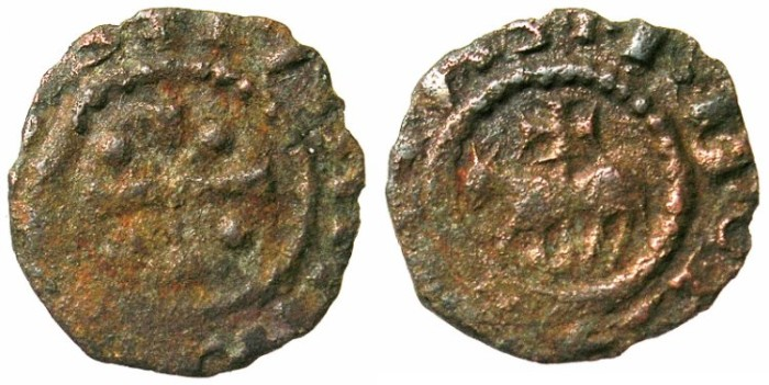 Ancient Coins - CRUSADER.TRIPOLI.Raymond II 1137-1152.AE.Fraction.Type 2.Horse and cross