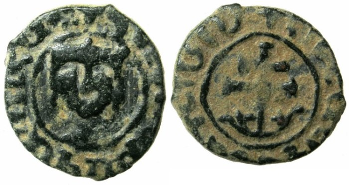 Ancient Coins - ARMENIA.Hetoum II AD 1289-1293,1295-1296 and 1301-1306.AE.Kardez.Mint of Sis