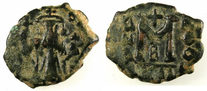 Ancient Coins - BYZANTINE EMPIRE.Constans II AD 641-668.AE.Follis.Mint of Constantinople.Regnal year 12, officina B