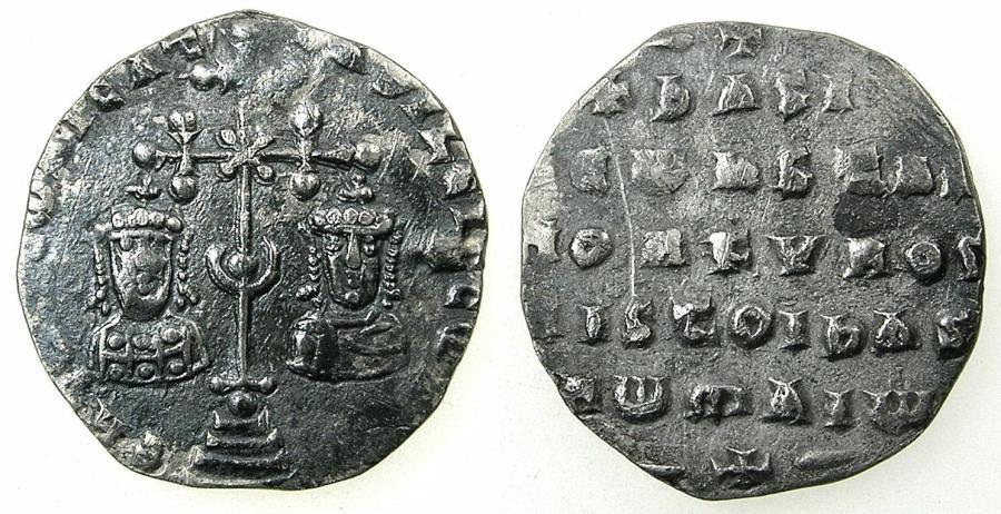 Ancient Coins - BYZANTINE EMPIRE.Basil II |Bulgaroktonos with Constantine VIII AD 976-1025.AR.Millaresion.Mint of CONSTANTINOPLE.