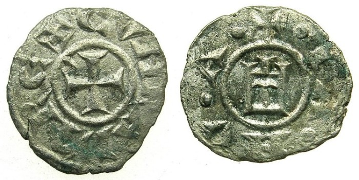 World Coins - ITALY.GENOA.Republic AD 1139-1339.Billon Obol.( Madaglia ). Scarce.