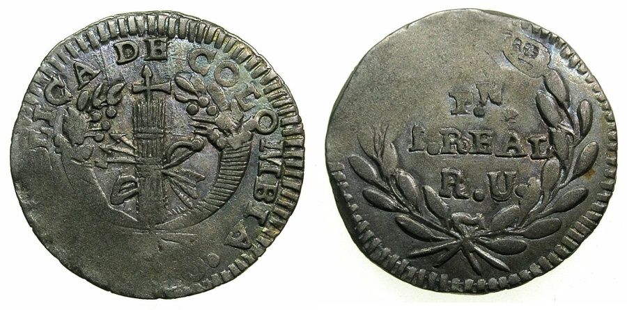 World Coins - COLOMBIA.REPUBLIC.AR.1 Real 1830.POPAYAN mint.