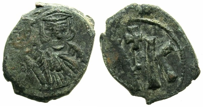 Ancient Coins - BYZANTINE EMPIRE.SICILY.Leo V The Armenian AD 813-820, with Constantine associate ruler from AD.813.AE.Follis.Mint of SYRACUSE.