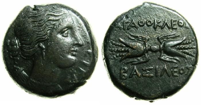 Ancient Coins - SICILY.Agathokles 317-289 BC.AE.20.7mm.~~~Artemis-Soteira. ~#~.Thunderbolt.