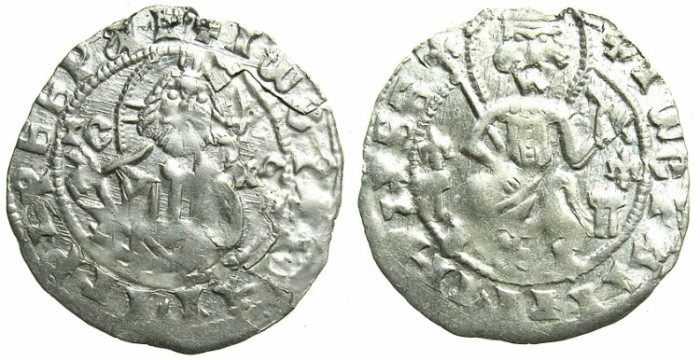 World Coins - BULGARIA.John Stracimar AD 1360-1396.AR.Grosch, reduced weight.Christ.Strcimar enthroned.