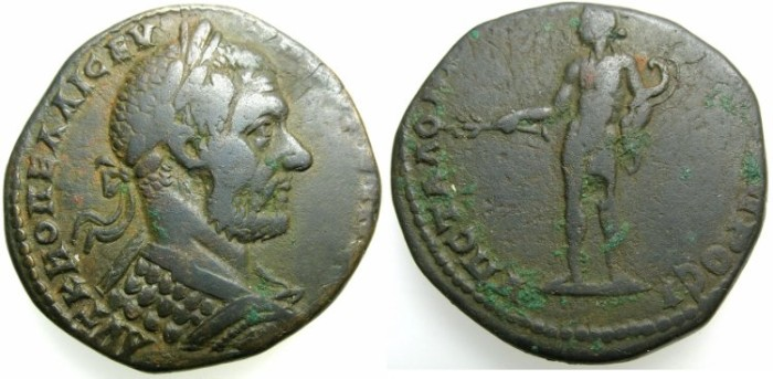Ancient Coins - MOESIA INFERIOR.NIKOPOLIS AD ISTRUM.Macrinus AD 217-218.AE.25.5mm.~#~Naked Apollo holding laurel branch and bow.