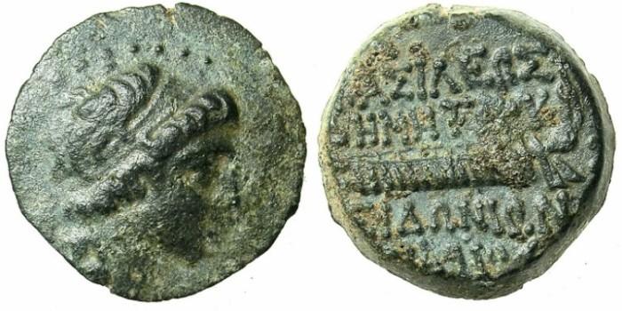 Ancient Coins - SYRIA.SELEUCID EMPIRE.SIDON.Demetrius I 162-150 BC.AE.16.Bust right.Galley